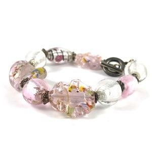Vintage Women's Pink Glass Beaded Bracelet